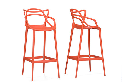 Baxton Studio Electron Orange Plastic Contemporary Bar Stool - Set of 2