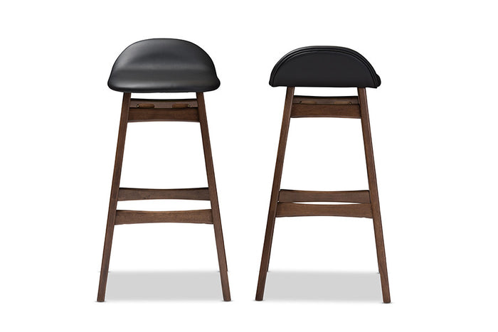 Baxton Studio Bloom Black Faux Leather Upholstered Walnut Wood Finishing 30-Inches Bar Stool - Set of 2