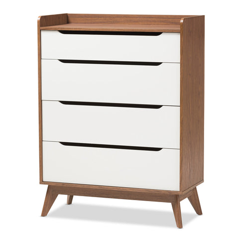 Baxton Studio Brighton White & Walnut Wood 4-Drawer Storage Chest - 1