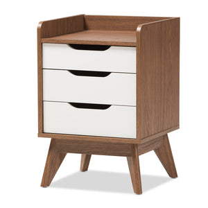 Baxton Studio Brighton White & Walnut Wood 3-Drawer Storage Nightstand-Nightstands-HipModernHome