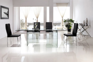 Casabianca MIAMI Clear Glass Dining Table - CB-010-CLEAR-Dining Tables-HipModernHome