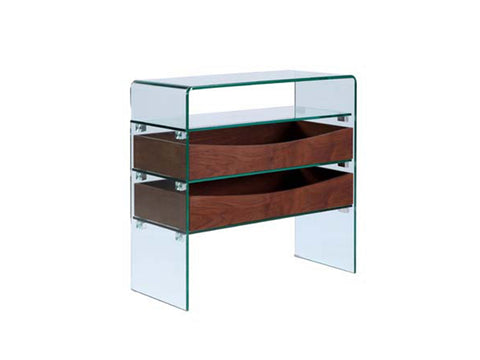 Casabianca IBIZA Walnut Veneer w Glass Console Table - CB-021-2DR-WAL-Console Tables-HipModernHome