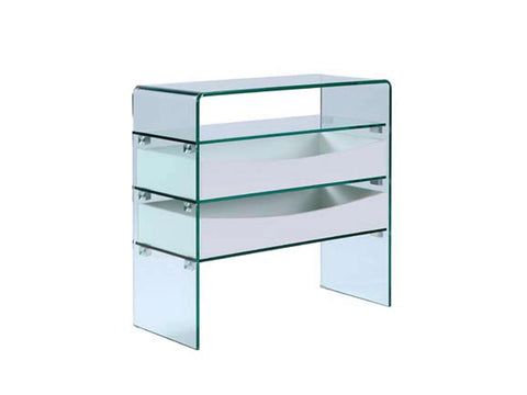 Casabianca IBIZA High Gloss White Lacquer w Glass Console Table - CB-021-2DR-WH-Console Tables-HipModernHome
