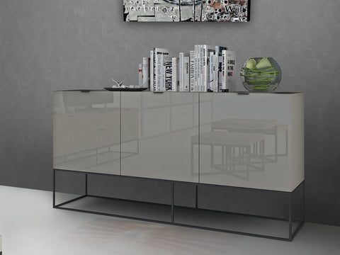 Casabianca VIZZIONE High Gloss Light Gray Lacquer Buffet - CB-1411-BG-Buffets-HipModernHome