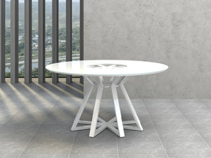Casabianca STAR High Gloss White Lacquer Dining Table - CB-3476-Dining Tables-HipModernHome