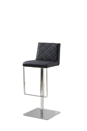 Casabianca LOFT Black Eco-leather w Stainless Steel Bar Stool-Bar Stools-HipModernHome