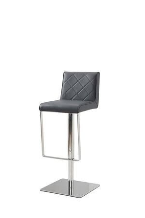 Casabianca LOFT Gray Eco-leather w Stainless Steel Bar Stool-Bar Stools-HipModernHome
