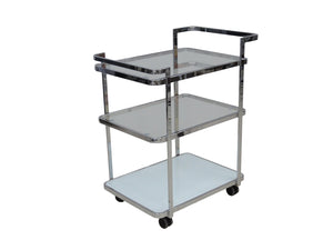 Casabianca FERRARA White / White Glass Bar Cart-Bar Carts-HipModernHome