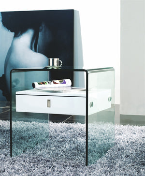Casabianca BARI High Gloss White Lacquer Nightstand / End Table - CB-J052-Nightstands-HipModernHome