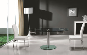 Casabianca THAO Stainless Steel / Clear Glass Dining Table - CB-T030-Dining Tables-HipModernHome