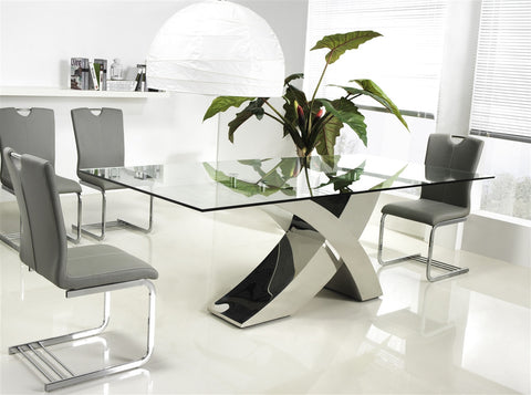 Casabianca GENEVA Chrome / Clear Glass Dining Table-Dining Tables-HipModernHome.com