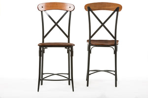 Baxton Studio Broxburn Brown Wood & Metal Bar Stool - Set of 2-Bar Stools-HipModernHome