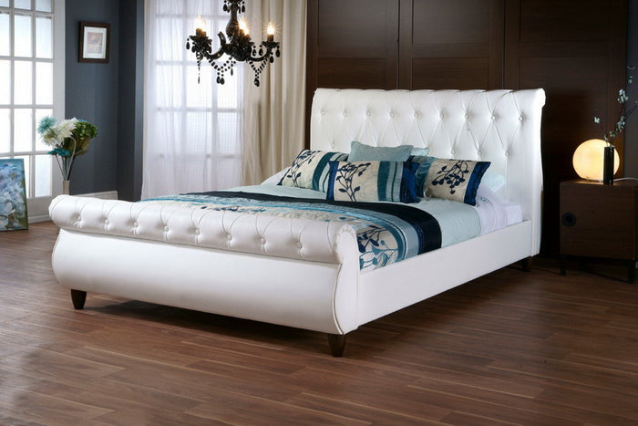 Baxton Studio Ashenhurst White Sleigh Bed w/ Upholstered Headboard - Queen Size