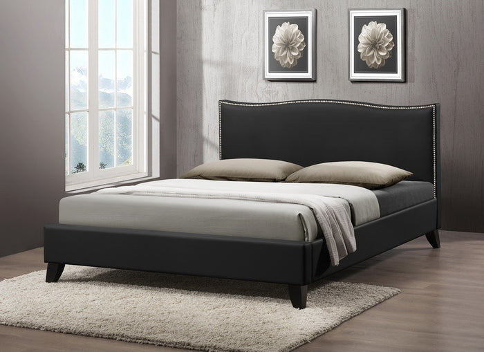 Baxton Studio Battersby Black Bed w/ Upholstered Headboard - Queen Size