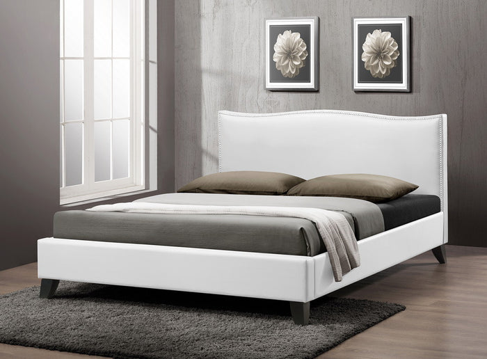 Baxton Studio Battersby White Bed w/ Upholstered Headboard - Queen Size