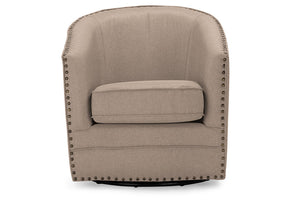 Baxton Studio Porter Beige Upholstered Swivel Tub Chair-Accent Chairs-HipModernHome