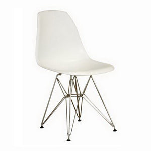 Baxton Studio Azzo White Plastic Mid-Century Modern Side Chair - Set of 2-Accent Chairs-HipModernHome