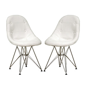 Baxton Studio Ami Modern White Faux Leather Side Chair - Set of 2-Accent Chairs-HipModernHome