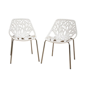 Baxton Studio Birch Sapling White Plastic Accent / Dining Chair - Set of 2-Dining Chairs-HipModernHome