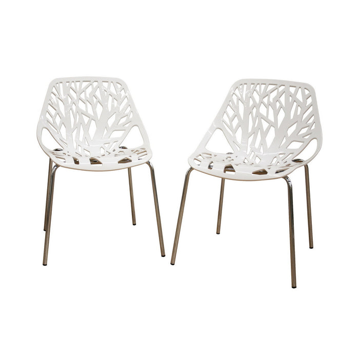 Baxton Studio Birch Sapling White Plastic Accent / Dining Chair - Set of 2