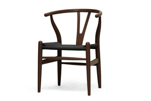 Baxton Studio Wishbone Chair - Brown Wood Y Chair w/ Black Seat - Set of 2-Accent Chairs-HipModernHome