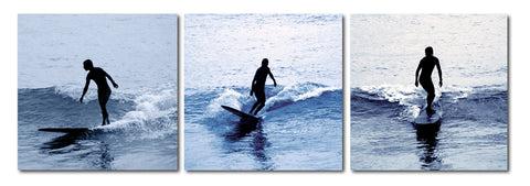 Baxton Studio Surf Silhouettes Mounted Photography Print Triptych-Wall Decorations-HipModernHome