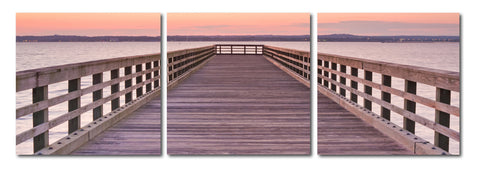 Baxton Studio Pier Sunset Mounted Photography Print Triptych-Wall Decorations-HipModernHome