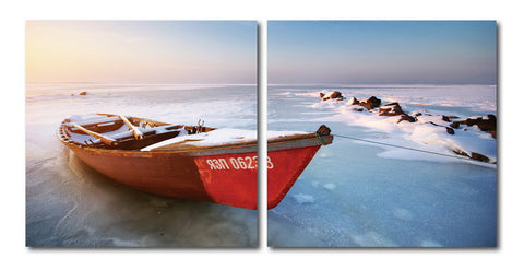 Baxton Studio Seasonal Seashore Mounted Photography Print Diptych-Wall Decorations-HipModernHome
