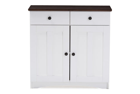 Baxton Studio Lauren Modern and Contemporary Two-tone White and Dark Brown Buffet Kitchen Cabinet with Two Doors and Two Drawers