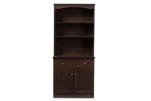 Baxton Studio Agni Brown Buffet & Hutch Kitchen Cabinet-Cabinets-HipModernHome