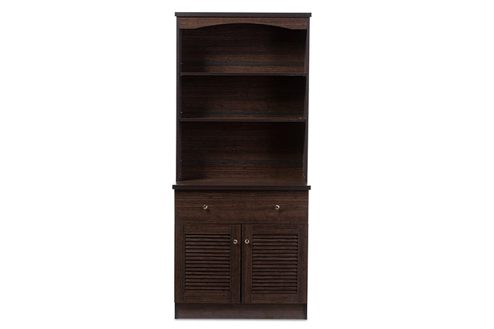 Baxton Studio Agni Brown Buffet & Hutch Kitchen Cabinet