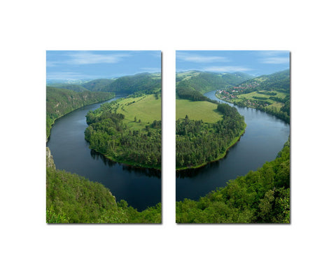 Baxton Studio Wraparound Waterway #2 Mounted Photography Print Diptych-Wall Decorations-HipModernHome