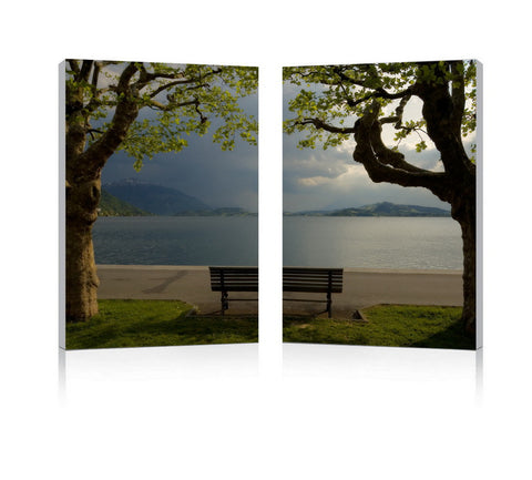 Baxton Studio Pristine View Mounted Photography Print Diptych-Wall Decorations-HipModernHome
