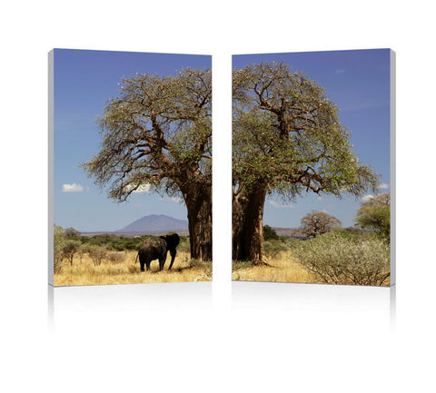 Baxton Studio Tree of Life Mounted Photography Print Diptych-Wall Decorations-HipModernHome