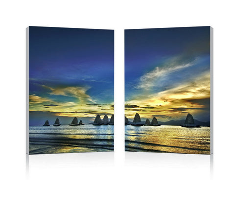 Baxton Studio Sunset Sails Mounted Photography Print Diptych-Wall Decorations-HipModernHome