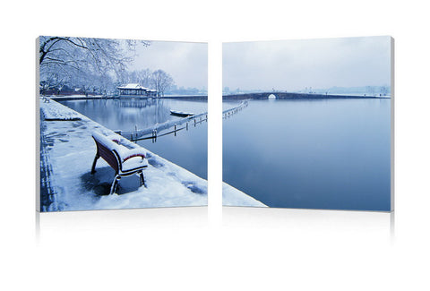 Baxton Studio Wintry Wonder Mounted Photography Print Diptych-Wall Decorations-HipModernHome