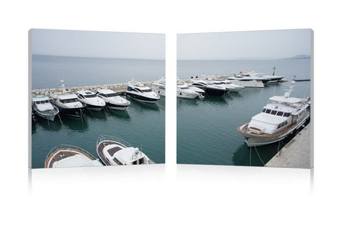 Baxton Studio Yacht Congregation Mounted Photography Print Diptych-Wall Decorations-HipModernHome
