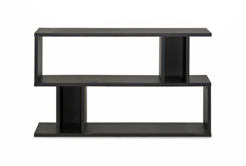 Baxton Studio Goodwin 2-Level Dark Brown Modern Bookshelf