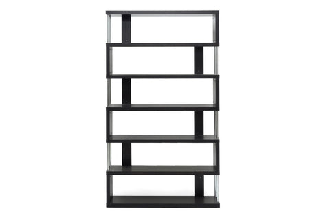 Baxton Studio Barnes Dark Brown Six-Shelf Modern Bookcase-Bookcases-HipModernHome