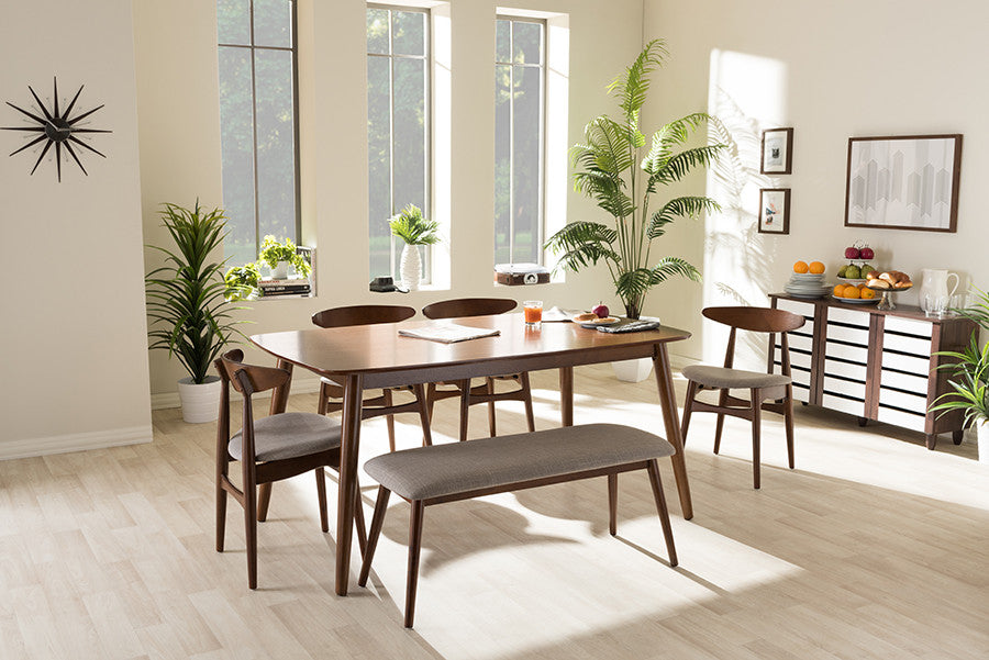 ... Baxton Studio Flora Light Grey U0026 Oak Medium Brown 6 Piece Dining Set  Furniture