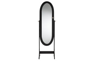 Baxton Studio Apache Black Finish Wood Oval Shaped Cheval Mirror Jewelry Armoire-Armoires-HipModernHome