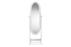 Baxton Studio Apache White Finish Wood Oval Shaped Cheval Mirror Jewelry Armoire-Armoires-HipModernHome