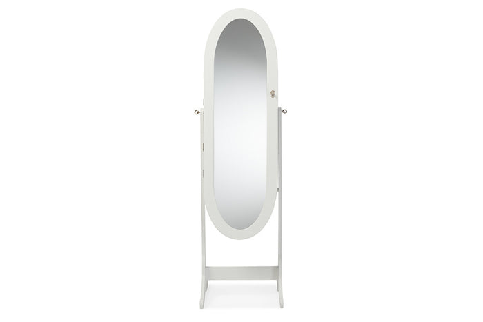 Baxton Studio Apache White Finish Wood Oval Shaped Cheval Mirror Jewelry Armoire