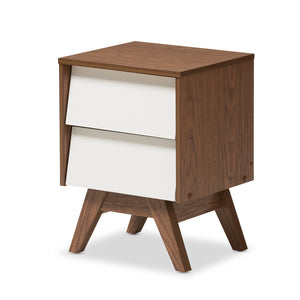 Baxton Studio Hildon White & Walnut Wood 2-Drawer Storage Nightstand-Nightstands-HipModernHome