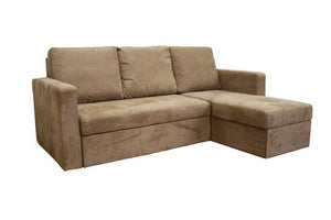 Baxton Studio Linden Tan Microfiber Convertible Sectional Sofa Bed - Right-Beds-HipModernHome