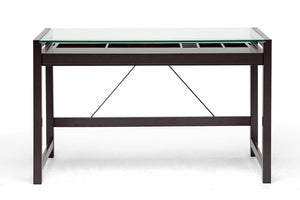 Baxton Studio Idabel Dark Brown Wood Modern Desk with Glass Top-Desks-HipModernHome