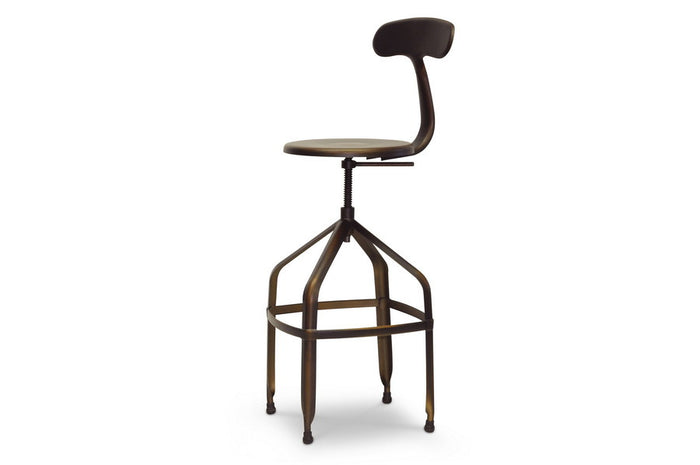 Baxton Studio Architect's Industrial Bar Stool w/Backrest in Antiqued Copper