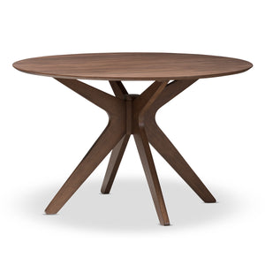 Baxton Studio Monte Walnut Wood 47-Inch Round Dining Table-Tables-HipModernHome