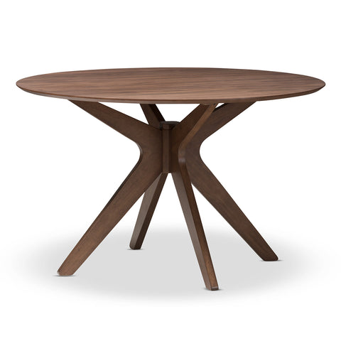 Baxton Studio Monte Walnut Wood 47-Inch Round Dining Table - 1