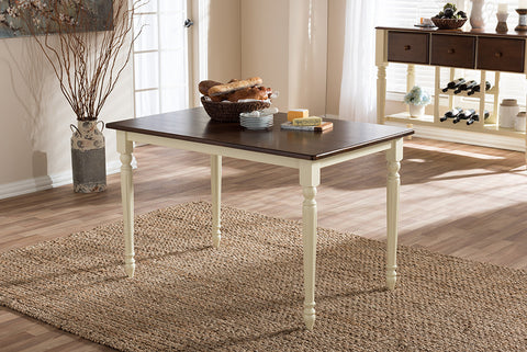 "Baxton Studio Napoleon French Country Cottage Buttermilk and ""Cherry"" Brown Finishing Wood Dining Table"